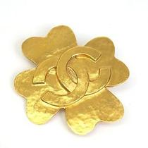 Auth Chanel Clover Broach Metal Gold(bf065173) Photo