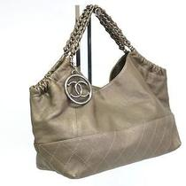 Auth Chanel Coco Cabas Chain Shoulder Bag Leather Khaki(bf050845) Photo
