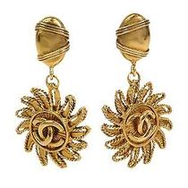 Auth Chanel Coco Clip Earrings Sun Motif Metal Gold (Bf088433) Photo