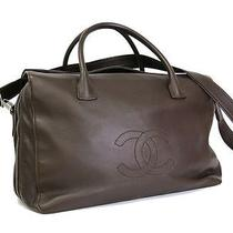 Auth Chanel Coco Mark Boston Bag Calfskin Dark Brown(bf052818) Photo