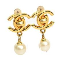 Auth Chanel Coco Mark Earring Metal Gold (Bf071312) Photo