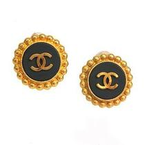 Auth Chanel Coco Mark Earring Metal Gold/black(bf062091) Photo