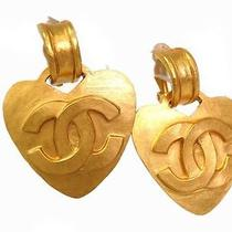 Auth Chanel Coco Mark Heart Earring Metal Gold(bf061996) Photo