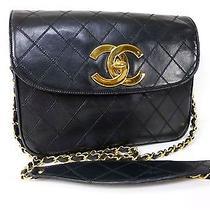 Auth Chanel Coco Mark Lamb Leather Shoulder Bag W25 Black E961 Photo