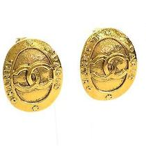 Auth Chanel Coco Oval Clip Earrings Metal Gold (Bf076501) Photo