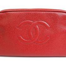 Auth Chanel Coco Poach/clutch Bag Caviar Skin Red (Bf076555) Photo