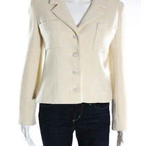 Auth Chanel Cream Wool Tweed Silk Lined Mother of Pearl Button Blazer Sz Fr 36 Photo