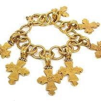 Auth Chanel Cross Bracelet Metal Gold(bf063629) Photo
