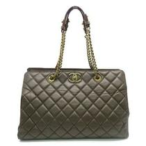 Auth Chanel Dark Brown Chain Shoulder Tote Bag Quilted Leather Photo