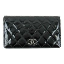 Auth Chanel Enamel Zip Long Bi-Fold Wallet Purse Patent Leather Black Used Cc Photo