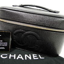 Auth Chanel Hand Bag Cosmetic Pouch Vanity Caviar Skin Leather Black 02110182000 Photo