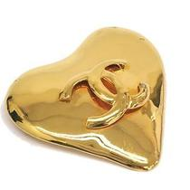 Auth Chanel Heart Broach Coco Mark Metal Gold(bf061688) Photo