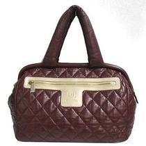 Auth Chanel Lambskin Coco Cocoon Boston Bag Handbag Bordeaux Photo
