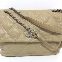 Auth Chanel Lambskin Matelasse Chain Shoulder Bag Beige Totebag Photo
