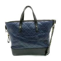 Auth Chanel Large Gabrielle Shopping Tote Bag Quilted Calfskin Leather Navy Blue Photo
