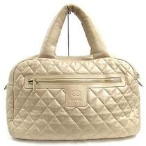 Auth Chanel Leather Coco Cocoon Tote Bag Handbag Gold Photo