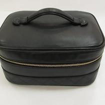 Auth Chanel Leather Vanity Handbag Makeup Pouch Cosmetic Bag Black Photo