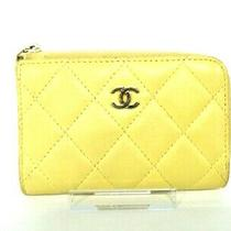 Auth Chanel Matelasse Yellow Lambskin Coin Case Gold Hardware Photo