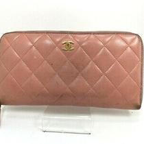 Auth Chanel Matrasse Round Zippy Wallet  Lamb Skin Wallet Pink Spain 57414222 Photo