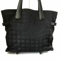 Auth Chanel New Travel Line Tote Gm Black Nylon  Leather Shoulder Bag Photo