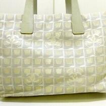 Auth Chanel New Travel Line Tote Mm Lightgray Beige White Leather Tote Bag Photo