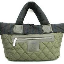 Auth Chanel Nylon Coco Cocoon Shoulder Tote Bag Handbag Khaki Black Photo