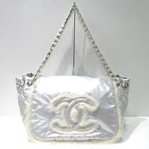 Auth Chanel Nylon Luxury Chain Shoulder Bag Totebag Silver Photo