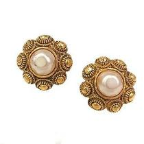 Auth Chanel Pearl Earring Metal/artificial Pearl Gold(bf062629) Photo