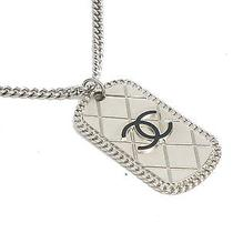 Auth Chanel Plate Necklace Coco Mark Metal Silver (Bf069982) Photo