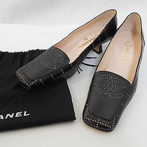 Auth Chanel Punching Coco Mark Pumps Black Pre-Owned Photo