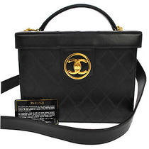 Auth Chanel Quilted Cc 2way Cosmetic Vanity Hand Bag Black Leather Vtg Ak02932 Photo