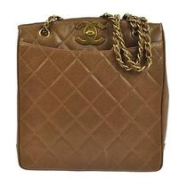 Auth Chanel Quilted Cc Chain Shoulder Tote Bag Br Caviar Leather Vintage Ak00070 Photo