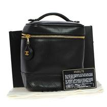 Auth Chanel Quilted Cc Charm Vanity Hand Bag Leather Black Italy Vintage 68d480y Photo