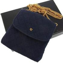 Auth Chanel Quilted Chain Accessories Pouch Necklace Navy Cotton Vintage C02143 Photo