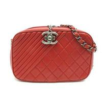 Auth Chanel Red Coco Boy Camera Case Shoulder Bag Quilted Calfskin Leather Photo
