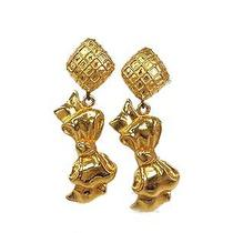 Auth Chanel Ribbon Earring Metal Gold(bf062634) Photo