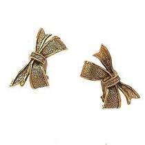 Auth Chanel Ribbon Earring Metal Gold(bf062636) Photo