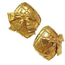 Auth Chanel Ribbon Earring Metal Gold(bf064132) Photo