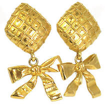 Auth Chanel Ribbon Earring Metal Gold(bf066272) Photo