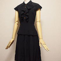Auth Chanel Sleeveless Black Silk Pleated Dress Size34 Clover Buttons  Photo