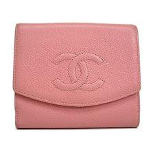 Auth Chanel Trifold Wallet Coco Caviar Skin Pink A13496 (Bf078081) Photo