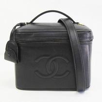 Auth Chanel Vanity Bag Caviar Skin black&gold 136849 Photo