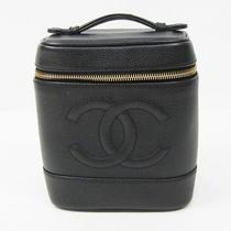 Auth Chanel Vanity Bag Caviar Skin black&gold A01998 121185 Photo