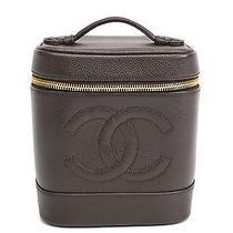 Auth Chanel Vanity Bag Caviar Skin Brown A01998 (Bf076445) Photo