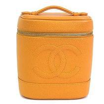 Auth Chanel Vanity Bag Caviar Skin Orange A01998 (Bf070935) Photo