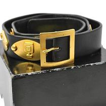 Auth Chanel Vintage Cc Logos Leather Belt Black Gold France Vintage 65/26 2003c Photo