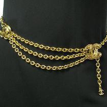 Auth Chanel Vintage Gold Tone Triple Chain Belt Necklace Cc Logo Charms W/box  Photo