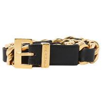 Auth Chanel Vintage Leather Belt Gold Chain L64-67cm Buckle3x2cm Ladies F/s Photo