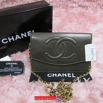 Auth Chanel Vintage Olive Brown Lambskin Wallet on Chain Woc Gold Hw Photo