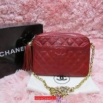 Auth Chanel Vintage Red Lizard Tassel Camera Case Bag Gold Hw Photo